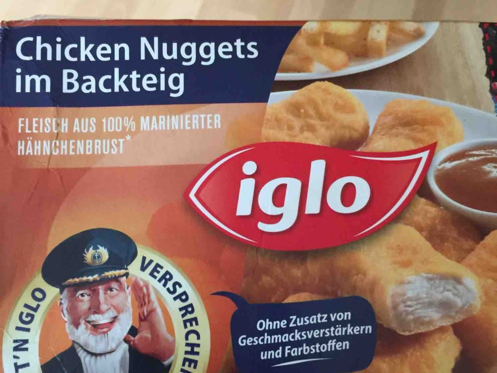 iglo chicken nuggets im backteig kalorien neue produkte fddb. Black Bedroom Furniture Sets. Home Design Ideas