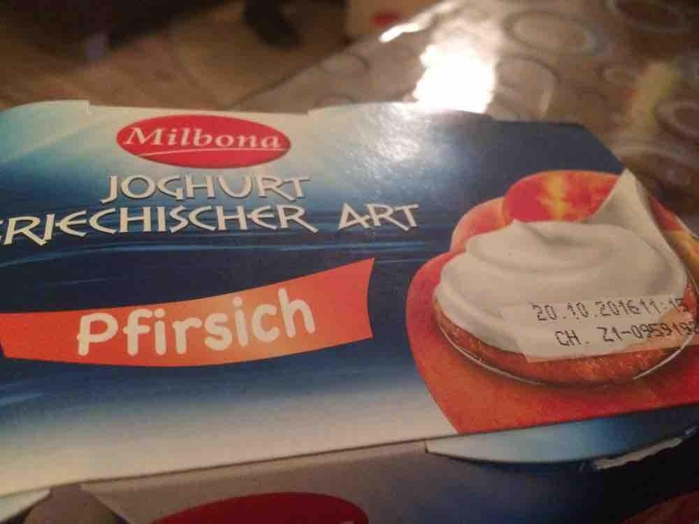 milbona griechischer joghurt mit pfirsich kalorien neue produkte fddb. Black Bedroom Furniture Sets. Home Design Ideas