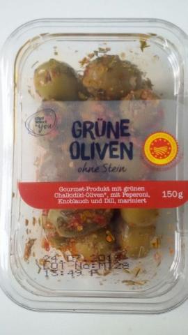 Grüne Oliven ohne Stein, mit Peperoni, Knoblauch, Dill, mari   Hochgeladen von: lgnt