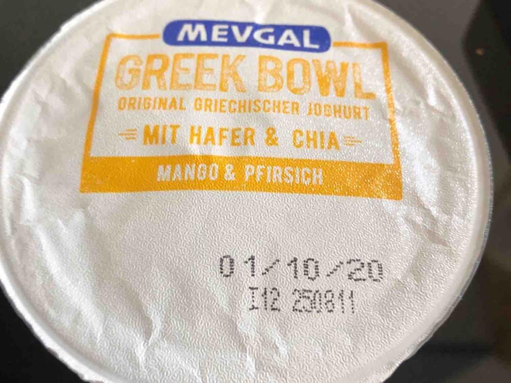 Greek Bowl, Mango & Pfisich mit Hafer & Chia von Fergy | Hochgeladen von: Fergy