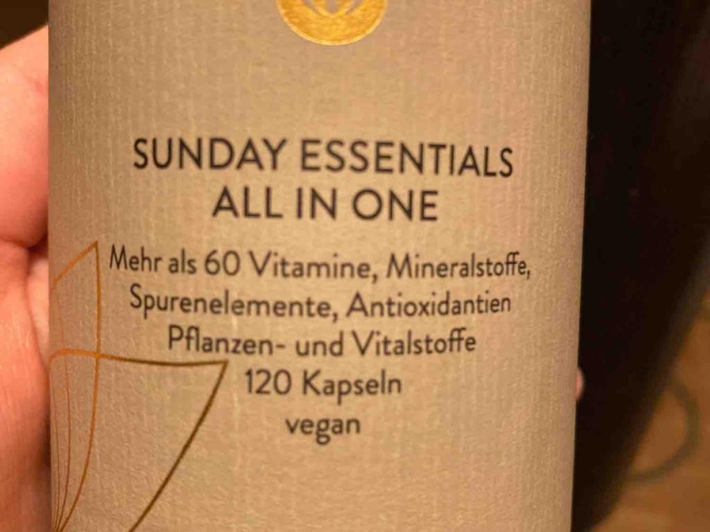 Sunday Essentials all in one vegan, ??25g = 1 Kapsel / 100g = Inhaltsstoffe für 4 Ka von LilleK   Hochgeladen von: LilleK