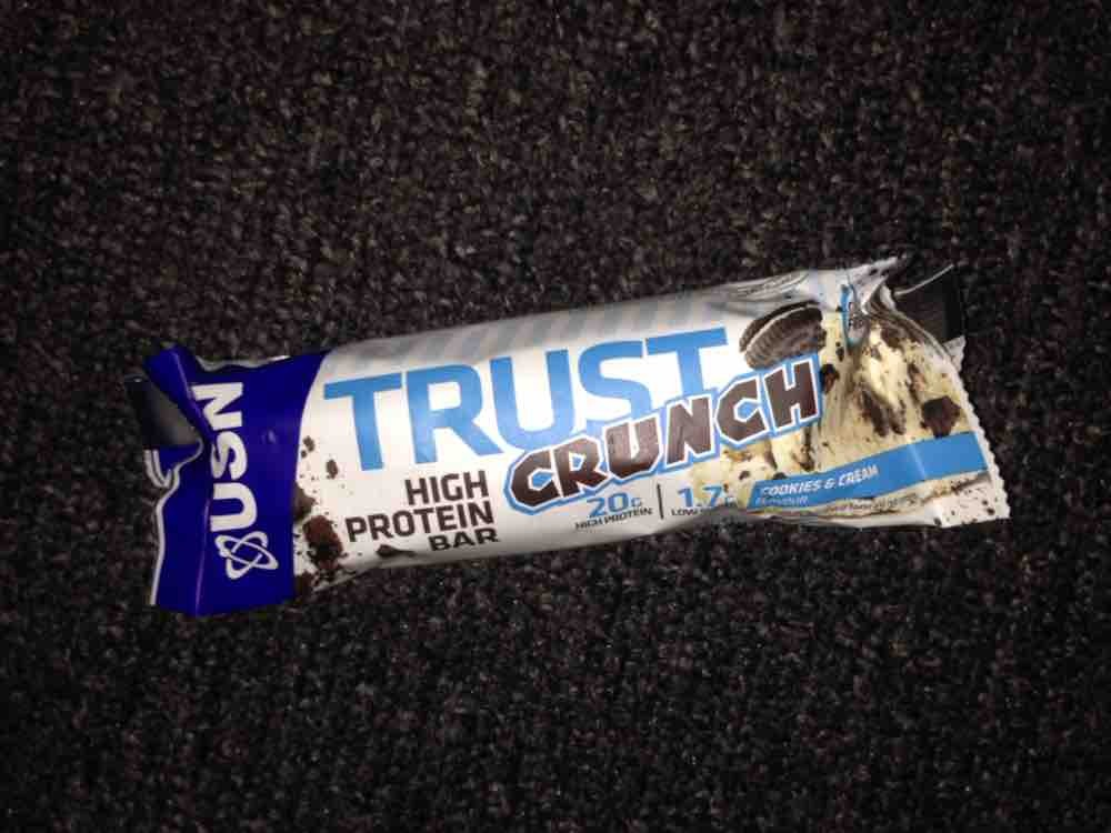 trust crunch high protein bar, cookies & cream von Eva Schokolade | Hochgeladen von: Eva Schokolade