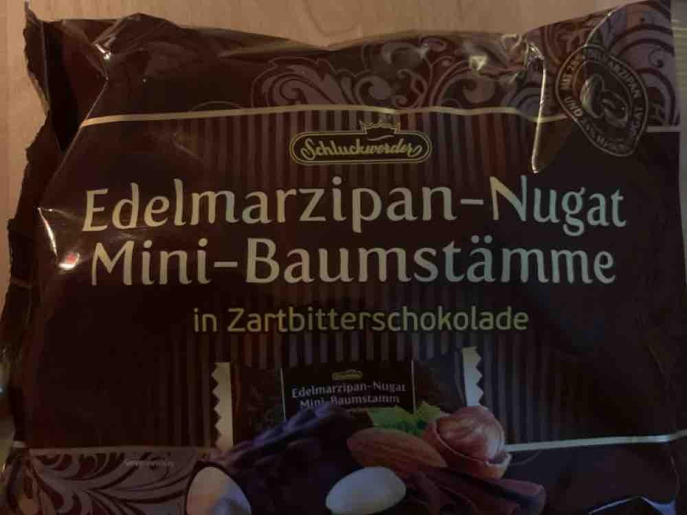 Edelmarzipan, Nugat Mini-Baumstämme in Zartbitterschokolade von mkuehrt   Hochgeladen von: mkuehrt